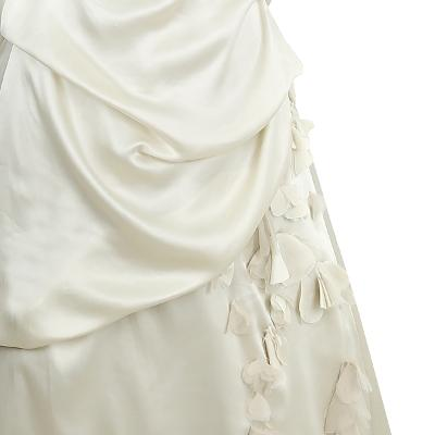 flower motive draping dress cream